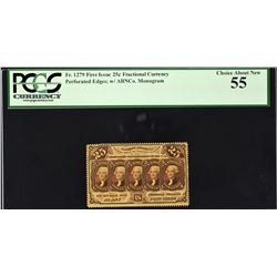 Lot of (4) First Issue. 25 Cents Frational Currency. PCGS Currency Graded.