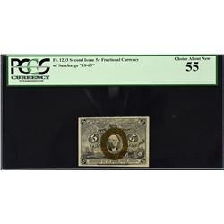 Lot of (3) Second Issue. 5 Cents Frational Currency. PCGS Currency Graded.