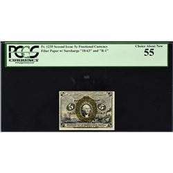 Fr. 1235.  Second Issue.  5 Cents Fractional Currency.  PCGS Currency About New 55.