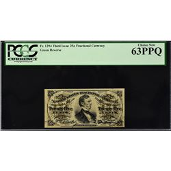 Lot of (3) Third Issue.  25 Cents Fractional Currency.  PCGS Currency Graded.
