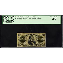 Fr. 1299. Third Issue. 25 Cents. PCGS Currency Extremely Fine 45.