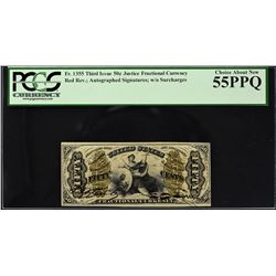 Lot of (3) Third Issue. Justice. 50 Cents Frational Currency. PCGS Currency Graded.