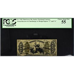 Fr. 1359 Third Issue.  Justice.  50 Cents.  PCGS Currency Choice About New 55.