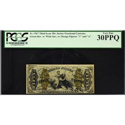 Fr. 1367. Third Issue. Justice. 50 Cents. PCGS Currency Very Fine 30 PPQ.