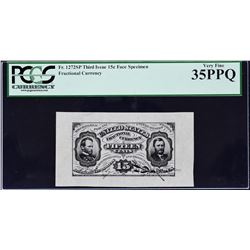 Lot of (5) Third Issue. 15 Cents. Wide Margin Fractional Currency Specimens. PCGS Currency Graded.