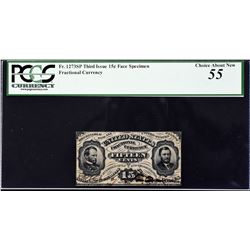 Fr. 1273sp. Third Issue. 15 Cents. Narrow Margin Fractional Currency Specimen. PCGS Currency Choice