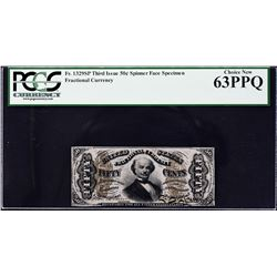 Fr. 1329sp. Third Issue. 50 Cents. Spinner. Narrow Margin Fractional Currency Specimen. PCGS Currenc