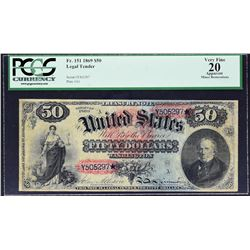 Fr. 151. 1869 $50 Legal Tender Note. PCGS Currency Very Fine 20 Apparent. Minor Restorations.