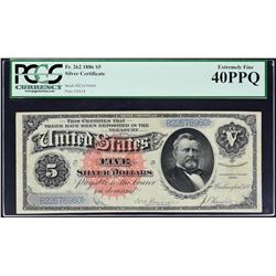 Fr. 262. 1886 $5 Silver Certificate. PCGS Currency Extremely Fine 40 PPQ.