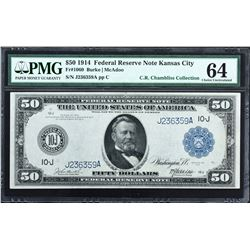 Fr. 1060. 1914 $50 Federal Reserve Note. Blue Seal. Kansas City. PMG Choice Uncirculated 64.