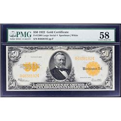 Fr. 1200. 1922 $50 Gold Certificate. PMG Choice About Uncirculated 58.