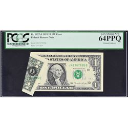 Fr. 1922-J. 1995 $1 Federal Reserve Note. Kansas City. PCGS Currency Very Choice New 64 PPQ. Printed