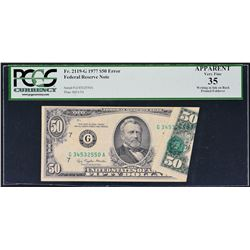 Fr. 2119-G. 1977 $50 Federal Reserve Note. Chicago. PCGS Currency Very Fine 35 Apparent. Writing in