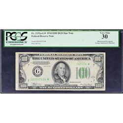 Fr. 2152a-G*. 1934 $100 Federal Reserve Note. Chicago. PCGS Currency Very Fine 30. Obstruction Error