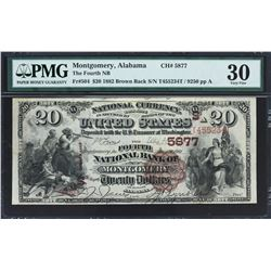 Montgomery, Alabama. $20 Brown Back. Fr. 504. Fourth NB. Charter 5877. PMG Very Fine 30.