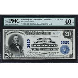 Washington, District of Columbia. $20 1902 Plain Back. Fr. 652. Columbia NB. Charter 3625. PMG Extre