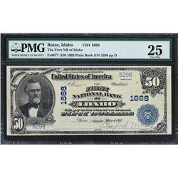 Boise, Idaho. $50 1902 Plain Back. Fr. 677. FNB. Charter 1668. PMG Very Fine 25.