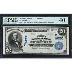 Caldwell, Idaho. $20 1902 Plain Back. Fr. 654. FNB. Charter 4690. PMG Extremely Fine 40.