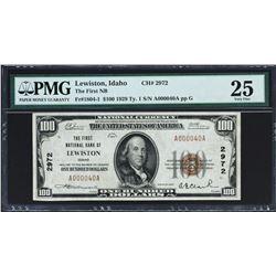 Lewiston, Idaho. $100 1929 Ty. 1. Fr. 1804-1. FNB. Charter 2972. PMG Very Fine 25.