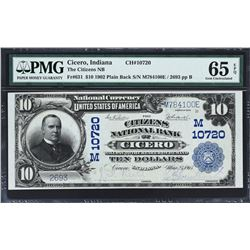 Cicero, Indiana. 1902 $10 Plain Back. Fr. 631. Citizens NB. Charter 10720. PMG Gem Uncirculated 65 E