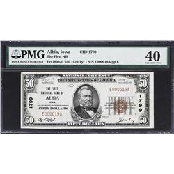 Albia, Iowa. 1929 $50 Ty. 1. Fr. 1803-1. FNB. Charter 1799. PMG Extremely Fine 40.