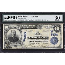 Alma, Kansas. 1902 $10 Plain Back. Fr. 632. Alma NB. Charter 5104. PMG Very Fine 30.