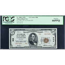 Lexington, Kentucky. 1929 $5 Ty. 2. Fr. 1800-2. FNB & TC. Charter 906. PCGS Currency Gem New 66 PPQ.
