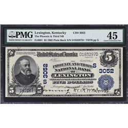 Lexington, Kentucky. 1902 $5 Plain Back. Fr. 601. Phoenix and Third NB. Charter 3052. PMG Choice Ext