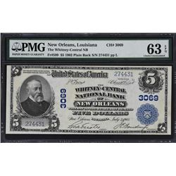 New Orleans, Louisiana. 1902 $5 Plain Back. Fr. 599. Whitney-Central NB. Charter 3069. PMG Choice U