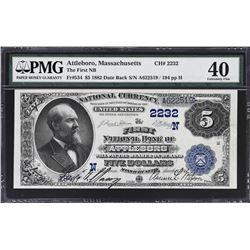 Attleboro, Massachusetts. 1882 $5 Date Back. Fr. 534. FNB. Charter 2232. PMG Extremely Fine 40.