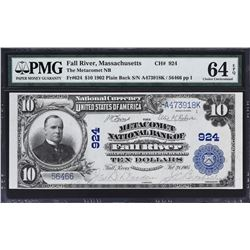 Fall River, Massachusetts. 1902 $10 Plain Back. Fr. 624. Metacomet NB. Charter 924. PMG Choice Uncir