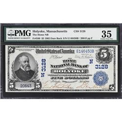 Holyoke, Massachusetts. 1902 $5 Date Back. Fr. 590. Home NB. Charter 3128. PMG Choice Very Fine 35.