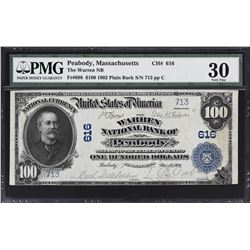 Peabody, Massachusetts. 1902 $100 Plain Back. Fr. 698. Warren NB. Charter 616. PMG Very Fine 30.
