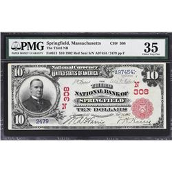 Springfield, Massachusetts. 1902 $10 Red Seal. Fr. 613. Third NB. Charter 308. PMG Very Fine 35.