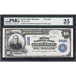 Great Falls, Montana. 1902 $10 Plain Back. Fr. 626. FNB. Charter 3525. PMG Very Fine 25.