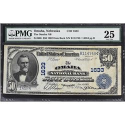 Omaha, Nebraska. 1902 $50 Date Back. Fr. 668. Omaha NB. Charter 1633. PMG Very Fine 25.