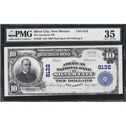 Silver City, New Mexico. 1902 $10 Plain Back. Fr. 628. American NB. Charter 8132. PMG Choice Very Fi