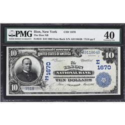 Ilion, New York. 1902 $10 Date Back. Ilion NB. Charter 1670. PMG Extremely Fine 40.
