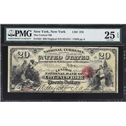 New York, New York. 1865 $20 Original. Fr. 424. Central NB. Charter 376. PMG Very Fine 25 EPQ.