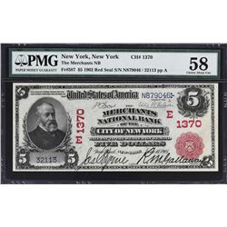 New York, New York. 1902 $5 Red Seal. Fr. 587. Merchants NB. Charter 1370. PMG Choice About Uncircul