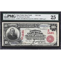 New York, New York. 1902 $10 Red Seal. Fr. 614. National City Bank. Charter 1461. PMG Very Fine 25.