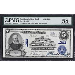 Port Jervis, New York. 1902 $5 Plains Back. Fr. 598. NB & TC. Charter 1363. PMG Choice About Uncircu