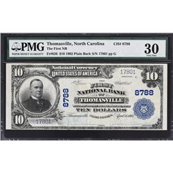 Thomasville, North Carolina. 1902 $10 Plain Back. Fr. 626. FNB. Charter 8788. PMG Very Fine 30.
