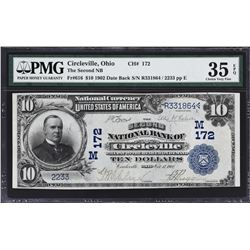 Circleville, Ohio. 1902 $10 Date Back. Fr. 616. Second NB. Charter 172. PMG Choice Very Fine 35 EPQ.