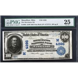 Massillon, Ohio. 1902 $100 Date Back. Fr. 692. Merchants NB. Charter 4286. PMG Very Fine 25.