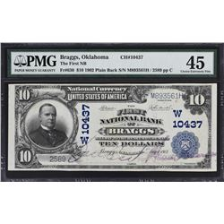 Braggs, Oklahoma. 1902 $10 Plain Back. Fr. 630. FNB. Charter 10437. PMG Choice Extremely Fine 45.