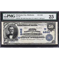 Oklahoma City, Oklahoma. 1902 $50 Plain Back. Fr. 679a. FNB. Charter 4862. PMG Very Fine 25.