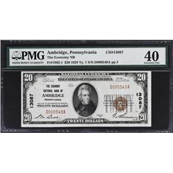 Ambridge, Pennsylvania. 1929 $20 Ty. 1. Fr. 1802-1. Economy National Bank. Charter 13087. PMG Extrem