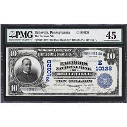 Belleville, Pennsylvania. 1902 $10 Date Back. Fr. 620. Farmers NB. Charter 10128. PMG Choice Extreme
