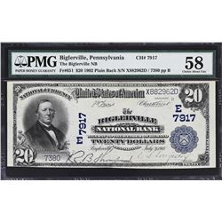 Biglerville, Pennsylvania. 1902 $20 Plain Back. Fr. 651. Biglerville NB. Charter 7917. PMG Choice Ab